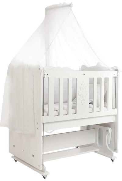 Nutty Baby Mars Beyaz Anne Yanı Sallanan Tekerlekli Beşik 60 x 100 cm