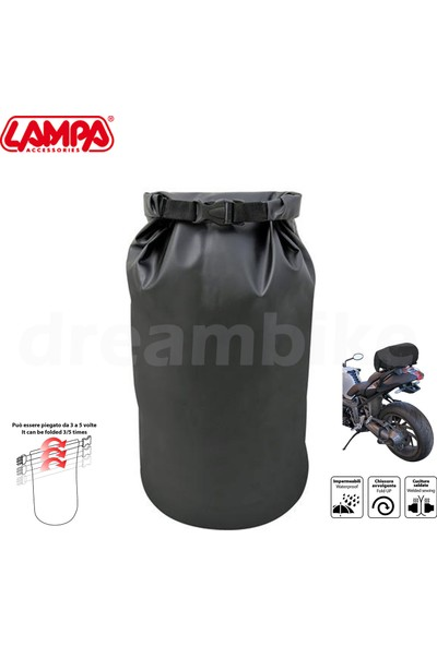 Lampa Dry-Tube 5L Su Geçirmez Arka Motosiklet Çantası 15x40cm 91257