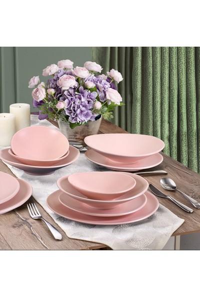 Keramika Oval Yemek Takımı Mat Açık Pembe 24 Parça 6 Kişilik