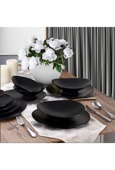 Keramika Oval Yemek Takımı Mat Siyah 24 Parça 6 Kişilik