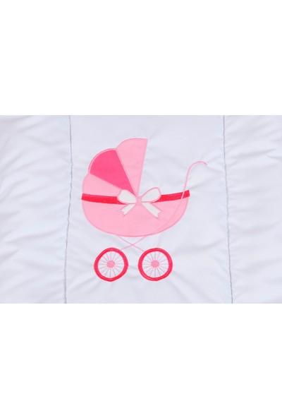 Heyner Ahşap Lake Beyaz Renk Sepet Beşik Anne Yanı Beşik Sallanan Ahşap Beşik - Pembe Uyku Setli & Soft Yataklı