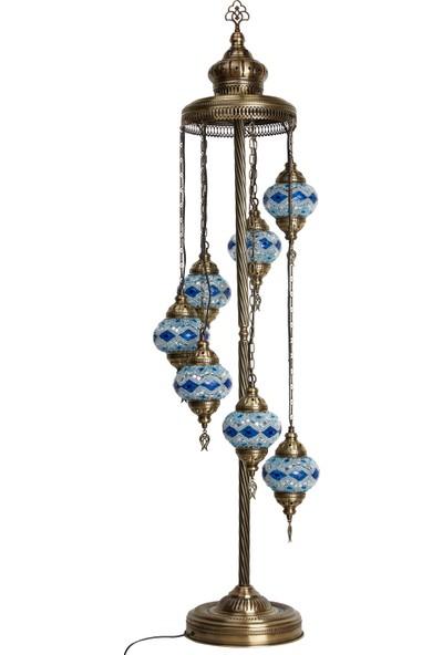 Demmex 7'li Otantik Lambader Ayaklı Mozaik Lamba Gece Dekor Köşe Lambası