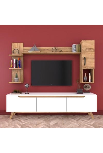 Rani D1 Duvar Raflı Kitaplıklı Tv Ünitesi Duvara Monte Dolaplı Ahşap Ayaklı Tv Sehpası Beyaz Ceviz M25