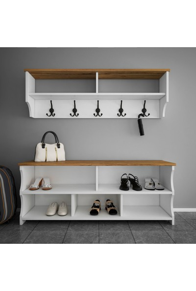 Rani P2 Modern Portmanto Ayakkabılık ve Duvar Askısı Beyaz Ceviz Vestiyer