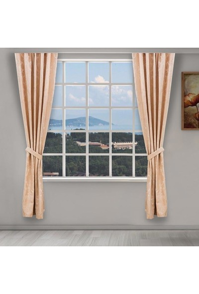 Jakist Dekoratif Jakarlı Şönil Tek Kanat Fon Perde (Bej) - 145x260 cm