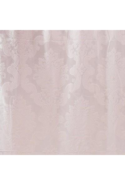Jakist Dekoratif Jakarlı Şönil Tek Kanat Fon Perde (Toz Pembe) - 145x260 cm