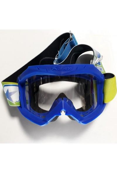 Ariete Motocross Mavi Şeffaf Lens Gözlük
