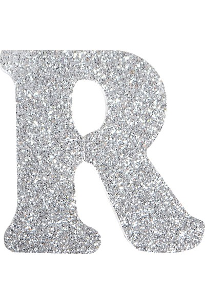 Partijet R Harf Gümüş Strafor Süs 9 cm