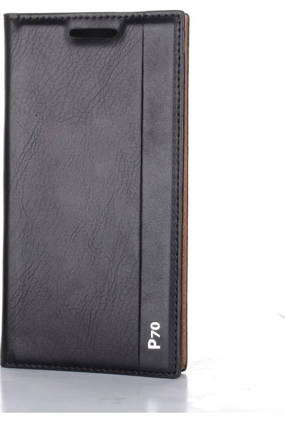 Gpack Lenovo P70 Kılıf Milano Mıknatıslı Kapaklı Nano Glass Siyah