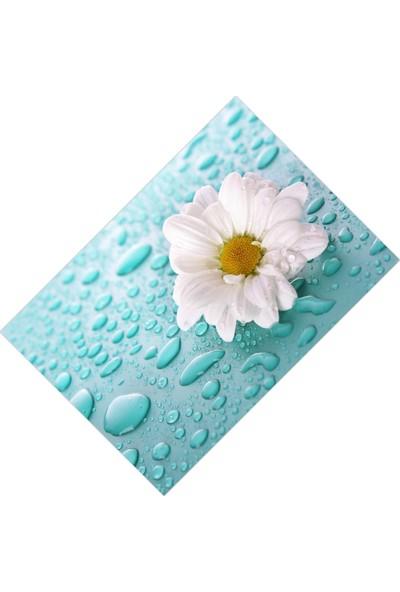 Cici Halı Örtüsü Islak Zemin Tek Beyaz Çiçek Lastikli Halı Örtüsü - 150 x 233 cm