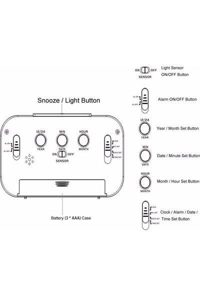 Aldepo Işık Sensörlü Termometreli Dijital Masa Saati (Beyaz)