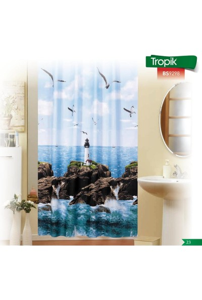 Zethome Tropik Banyo Duş Perdesi 9298 Tek Kanat 1X180x200