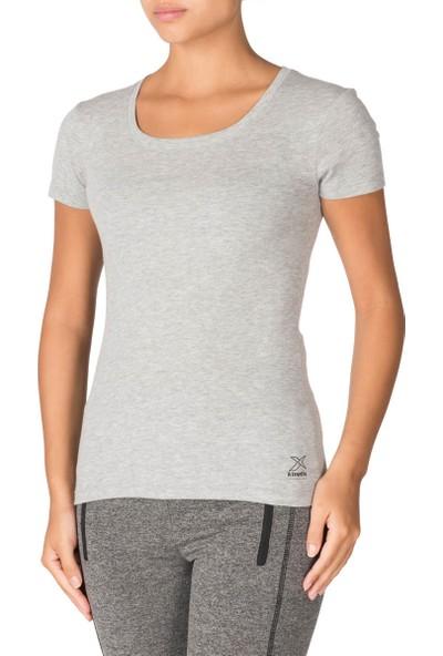 Kinetix Basic T-Shirt Gri Mel Kadın T-Shirt
