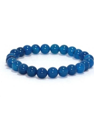 Optimoon Mavi Akik Doğaltaş Bileklik