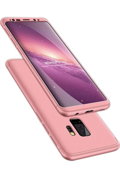Case 4U Samsung Galaxy S9 Plus 360 Derece Korumalı Tam Kapatan Koruyucu Kılıf Rose Gold
