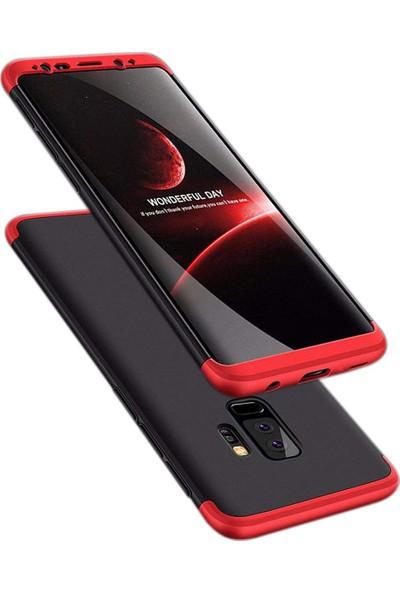 Case 4U Samsung Galaxy S9 Plus 360 Derece Korumalı Tam Kapatan Koruyucu Kılıf Siyah-Kırmızı
