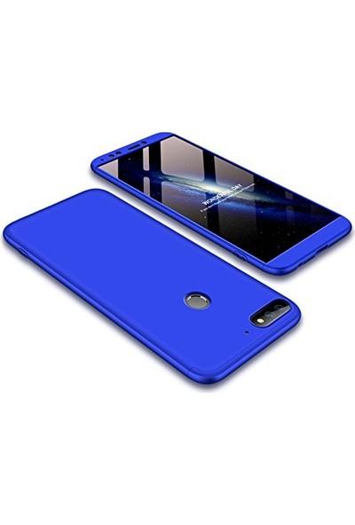 Case 4U Huawei Y7 2018 Kılıf 360 Derece Korumalı Tam Kapatan Koruyucu Kılıf - Koyu Mavi