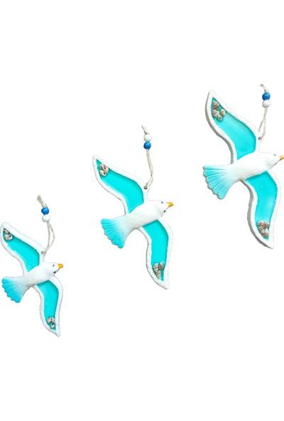 CajuArt Mavi Üçlü Kuş Deniz Kabuğu Süslü Ev Balkon Duvar Süsü