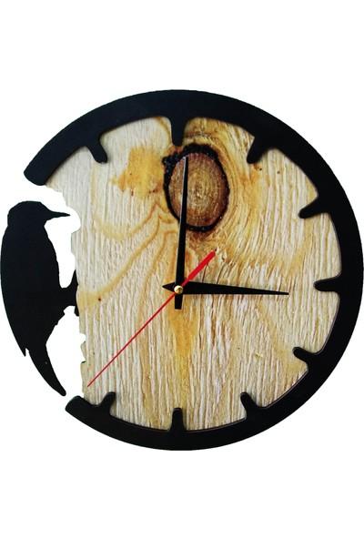 CajuArt Ağaçkakan Temalı Dekoratif Duvar Saati