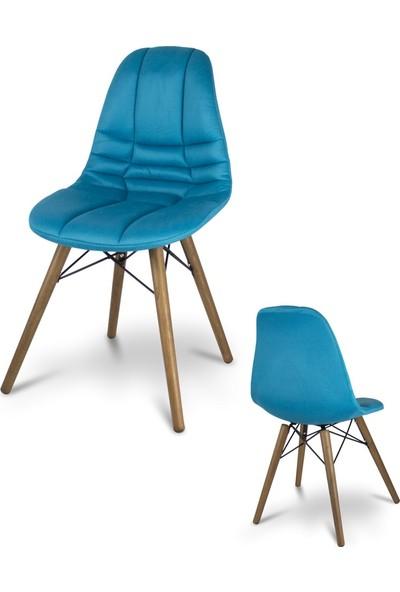 Visuel Mutfak Ofis Cafe Ahşap Ayak Kumaş Sandalye Mavi