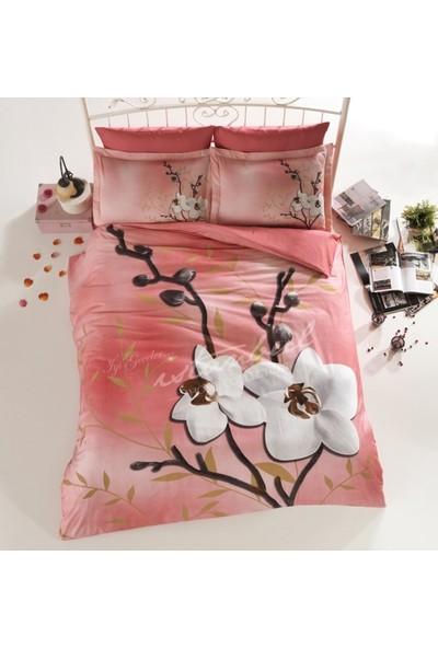 İyi Geceler İstanbul Nevresim Takımı Çift Kişilik 3D Orchid Somon