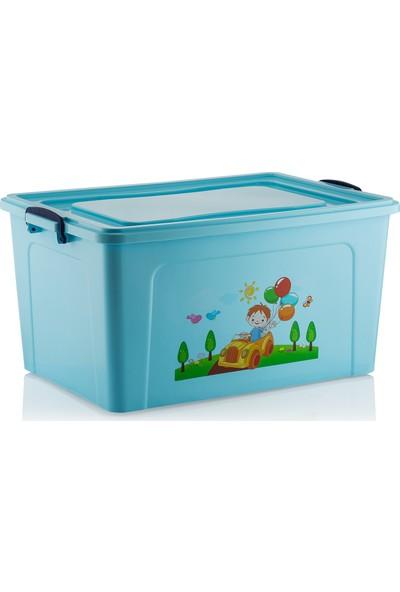 Babybee Tekerli Oyuncak Saklama Kutusu 80 lt Mavi