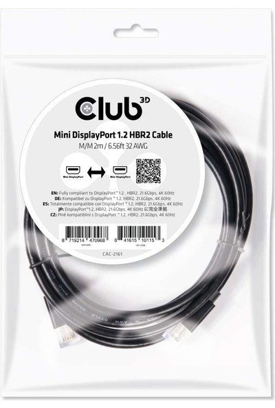 Club 3D Mini DPPort 1.2 HBR2 Kablo M/M 2m/6,56ft CAC-2161