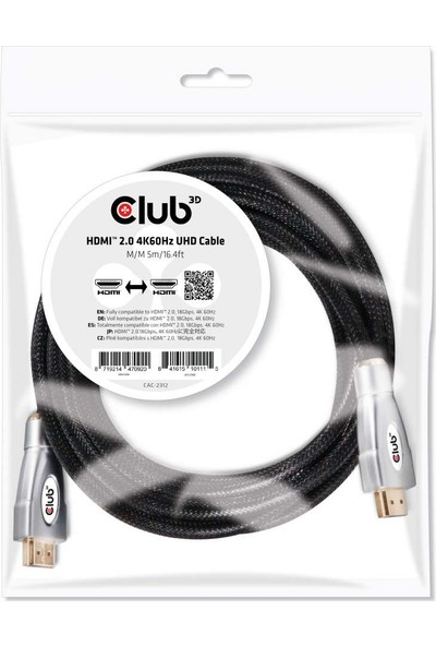 Club 3D HDMI 2.0 4K60Hz UHD Kablo 5m / 16,40ft CAC-2312