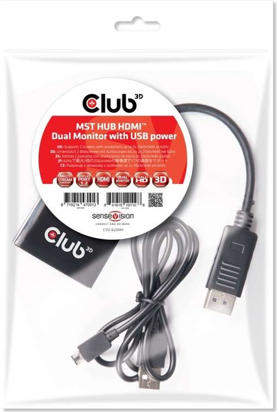 Club 3D Çoklu Taşıma Hub DiP Port 1.2 Çift HDMI CSV-6200H
