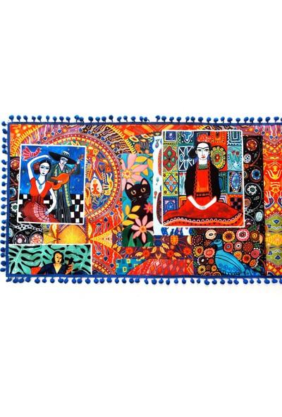 Dekorinyo Frida Kahlo Desenli Ponponlu Dekoratif Runner