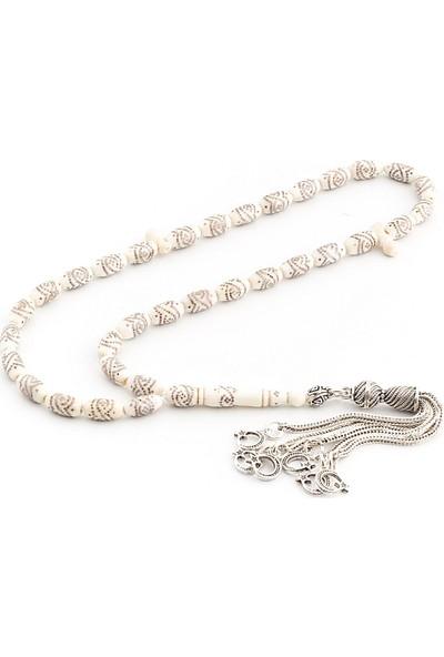 Saray Çarşısı T0602023 925 Ayar Gümüş Püsküllü Gümüş İşlemeli Fildişi Tesbih