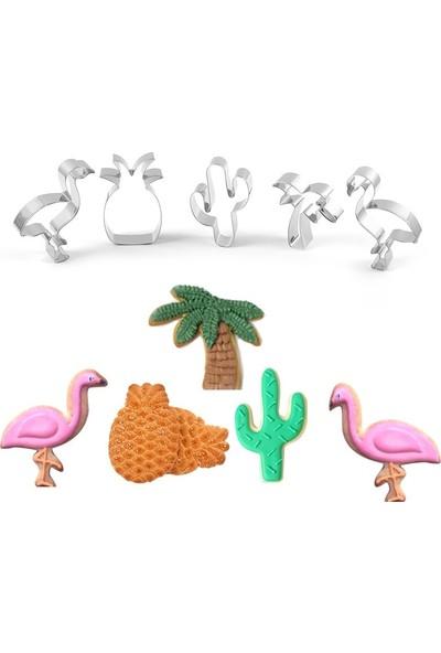Nar Kalıp Ananas Flamingo Kaktüs Palmiye 5'li Kurabiye Kalıbı