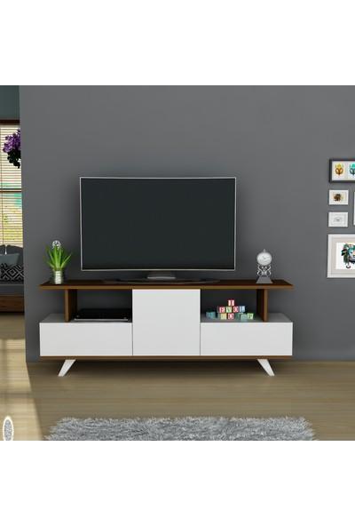 Arnetti Asil Tv Sehpası Beyaz Ceviz