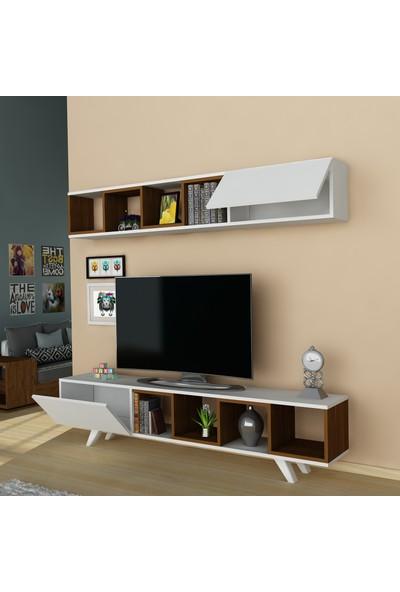 Arnetti Doruk Tv Sehpası Beyaz Ceviz