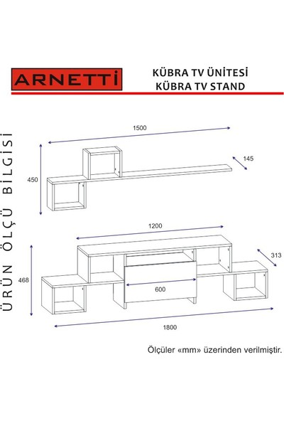 Arnetti Kübra Tv Sehpası Beyaz Ceviz