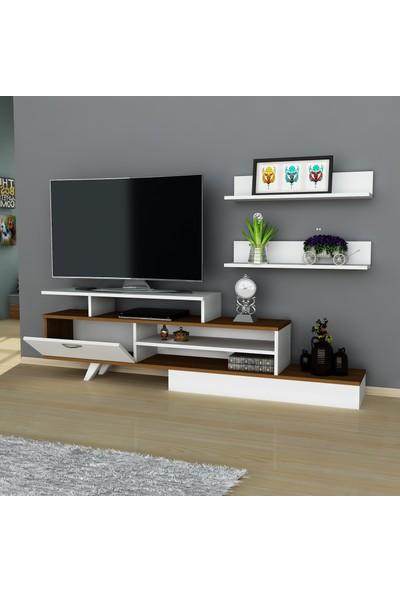 Arnetti Milon Tv Sehpası Beyaz Ceviz