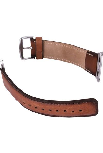 Burkley Apple Watch Kahverengi Deri Kordon RST2EF / 42 mm