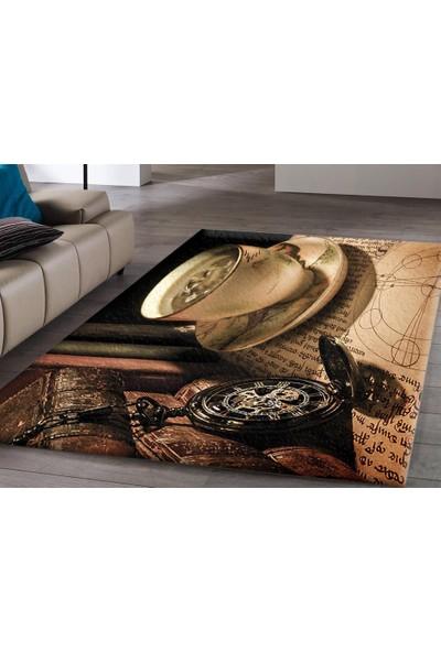 Veronya Kahve ve Saat Desenli Dijital Baskı Kaymaz Taban Halı 80x140