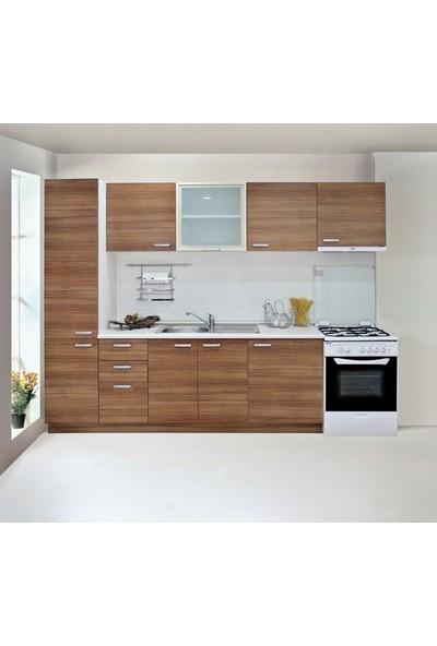 T Designo Alaska Mutfak Dolabı (Kiler Dahil ) - Anadolu Cevizi ve Beyaz