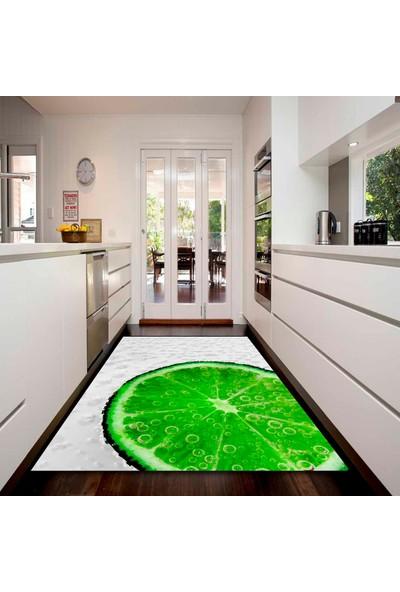 Else Kadser Yeşil Limonlu 3D Desenli Dekoratif Modern Mutfak Halısı