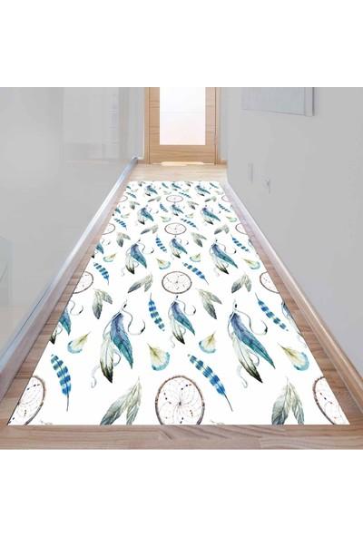 Else Kadser Mavi Gri Tüyler Otantik 3D Dekoratif Modern Yolluk Halı