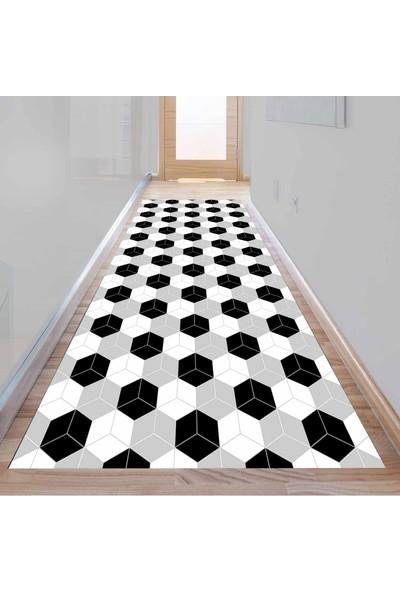 Else Kadser Gri Siyah Beyaz Kutular 3D Dekoratif Modern Yolluk Halı