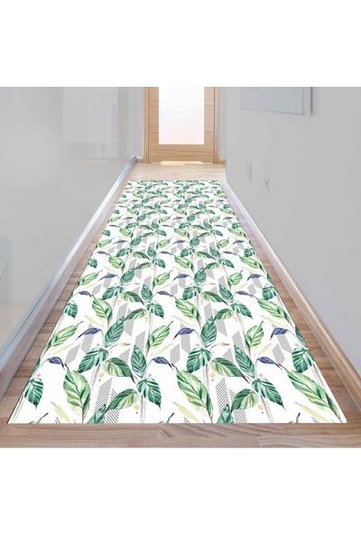 Else Kadser Yeşil Sarmaşık Yapraklar 3D Dekoratif Modern Yolluk Halı