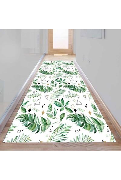 Else Kadser Yeşil Yaprak Geometrik 3D Dekoratif Modern Yolluk Halı