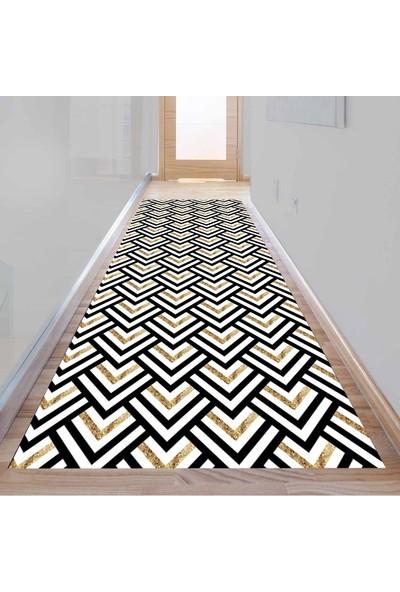 Else Kadser Karo Üçgen Geometrik 3D Dekoratif Modern Yolluk Halı