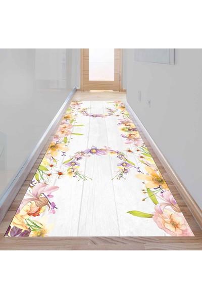 Else Kadser Tahta Renkli Çiçekler 3D Dekoratif Modern Yolluk Halı