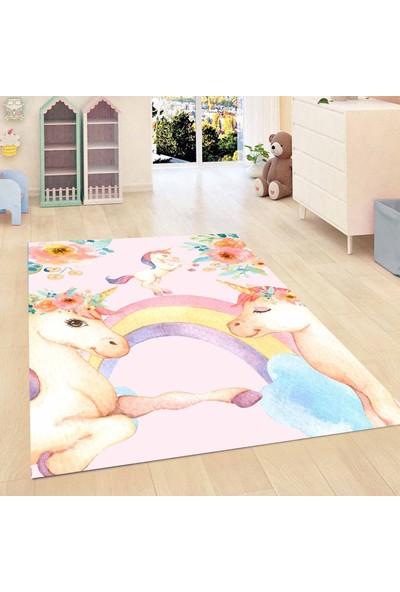 Else Kadser Pembe Unicorn Atlı Kız 3D Modern Bebek Çocuk Odası Halısı
