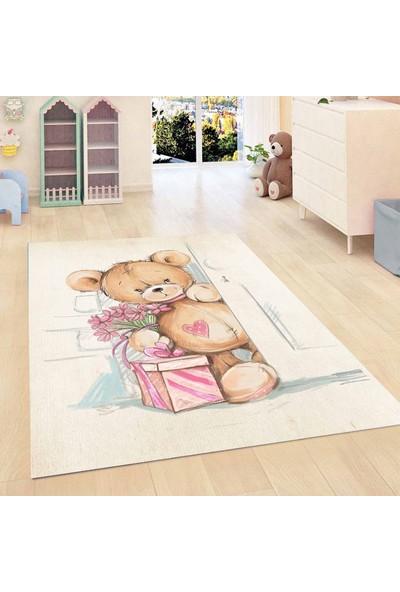 Else Kadser Pembe Sevimli Ayı Teddy 3D Modern Bebek Çocuk Odası Halısı