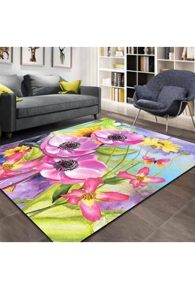 Else Kadser Renkli Sulu Boya Çiçekler 3D Modern Salon Mutfak Halısı