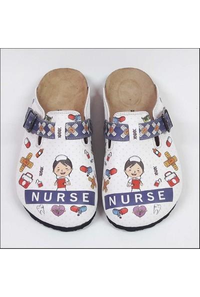 ShoeRokee Nurse Temalı Özel Tasarım Sabo Terlik